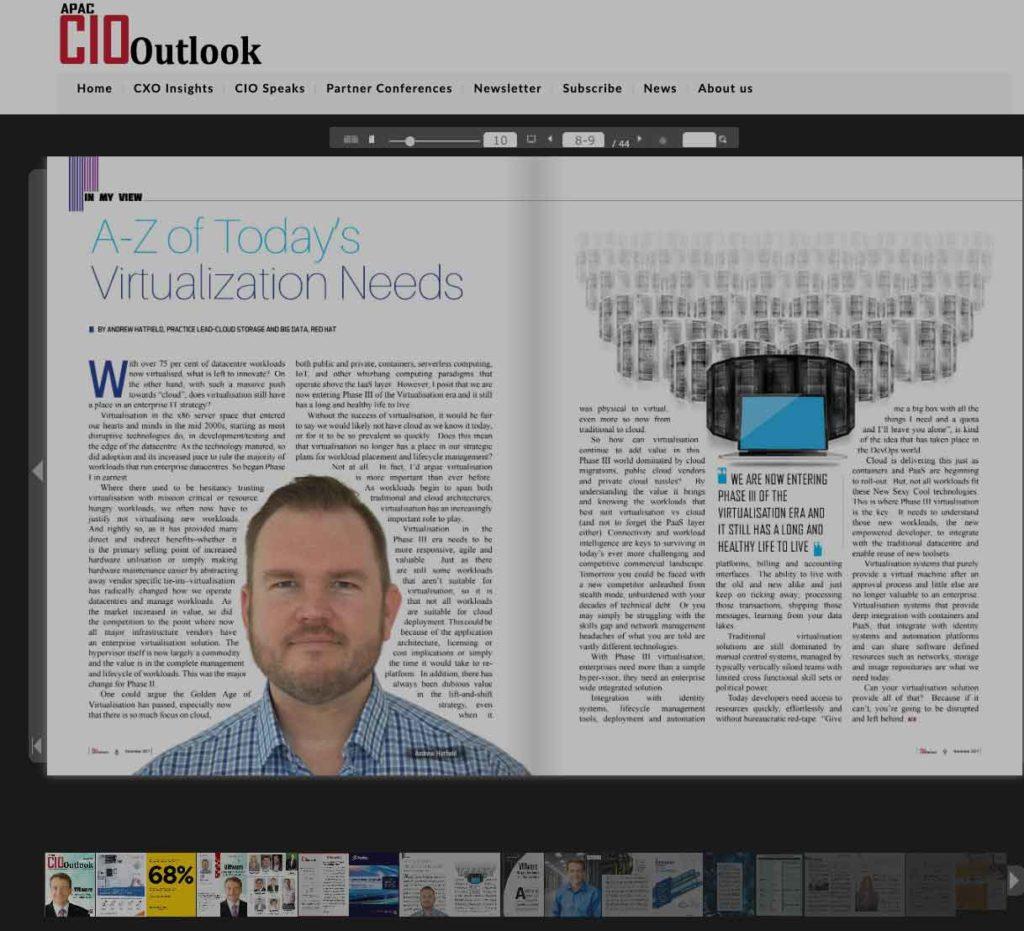 APAC CIO Outlook Magazine - Virtualisation Needs