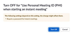 Reminder to require a zoom meeting password at all times